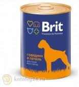 Консервы Brit Premium Dog, с говядиной и печенью, 1 шт.