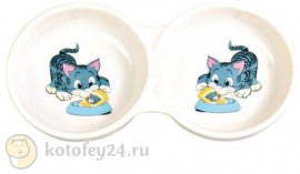 Двойная миска для кошек Trixie