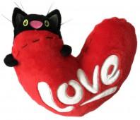 Мягкая игрушка Кот с сердцем, 23 см.