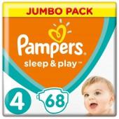 Подгузники Pampers Sleep & Play 4 размер, 68 шт, 7-14 кг.