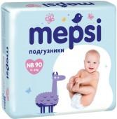 Подгузники Mepsi Premium р. NB, 90 шт, 0-6 кг.